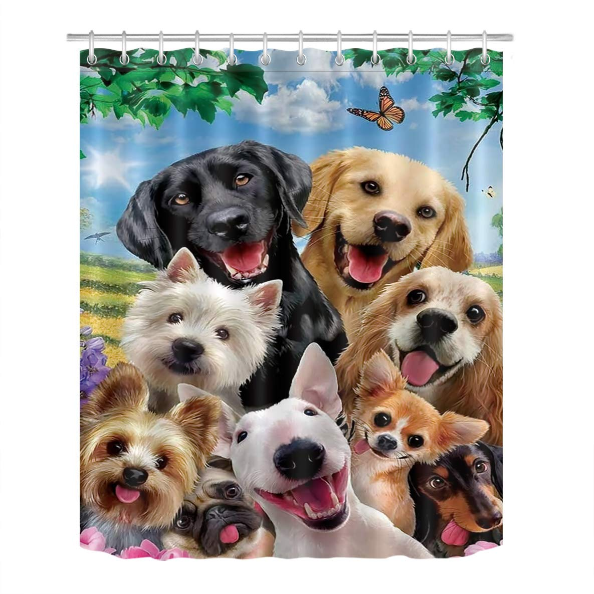 LB Dogs Shower Curtain, 3D Digital Printing Lovely Puppies Waterproof Polyester Fabric Bathroom Curtain with 12 Hooks,60x72 Inch