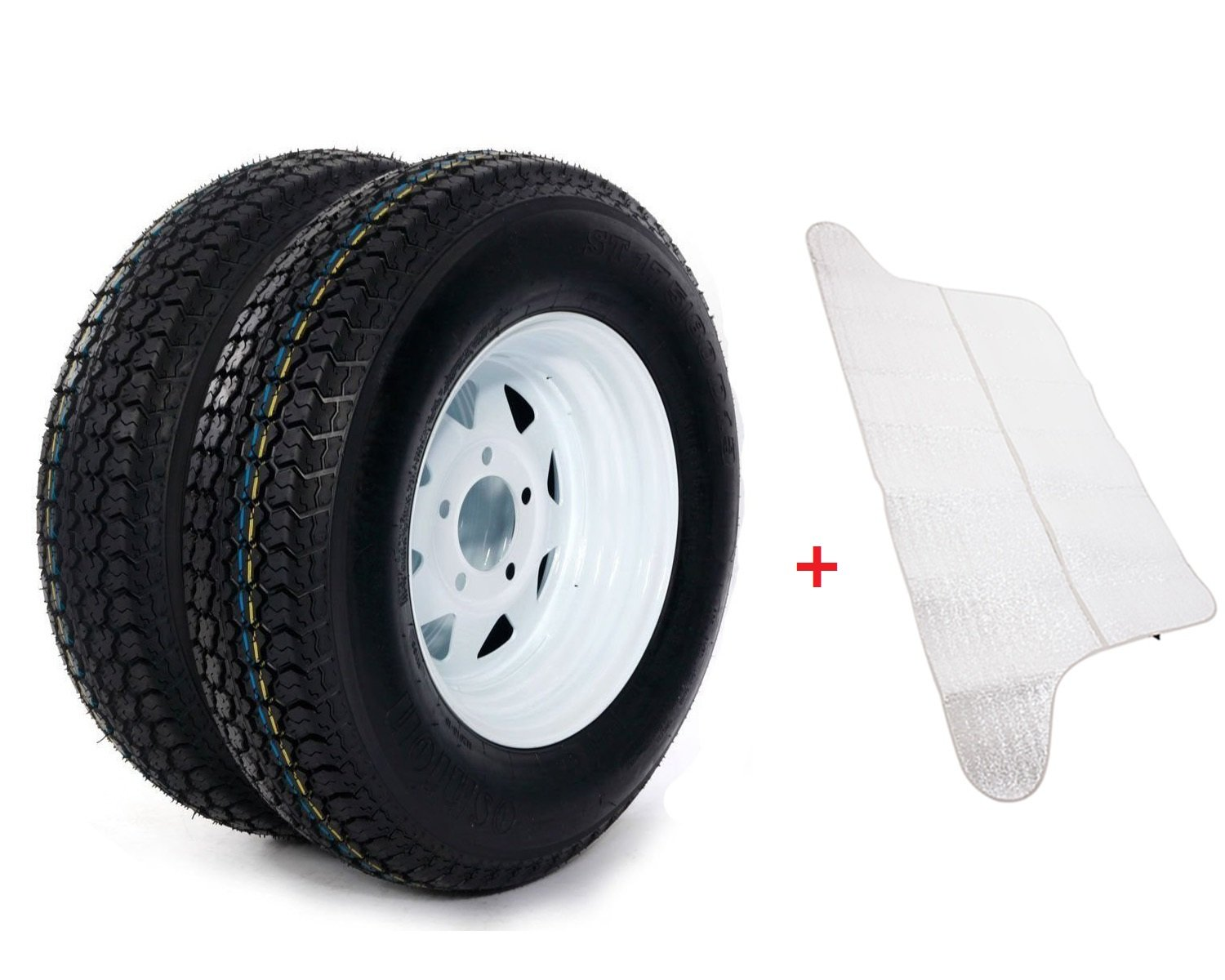 2pc 13'' White Spoke Trailer Wheel with Bias ST175/80D13 Tire Mounted 5x4.5 bolt circle(Come with Car Sunlight Snow Shield Matte Black)