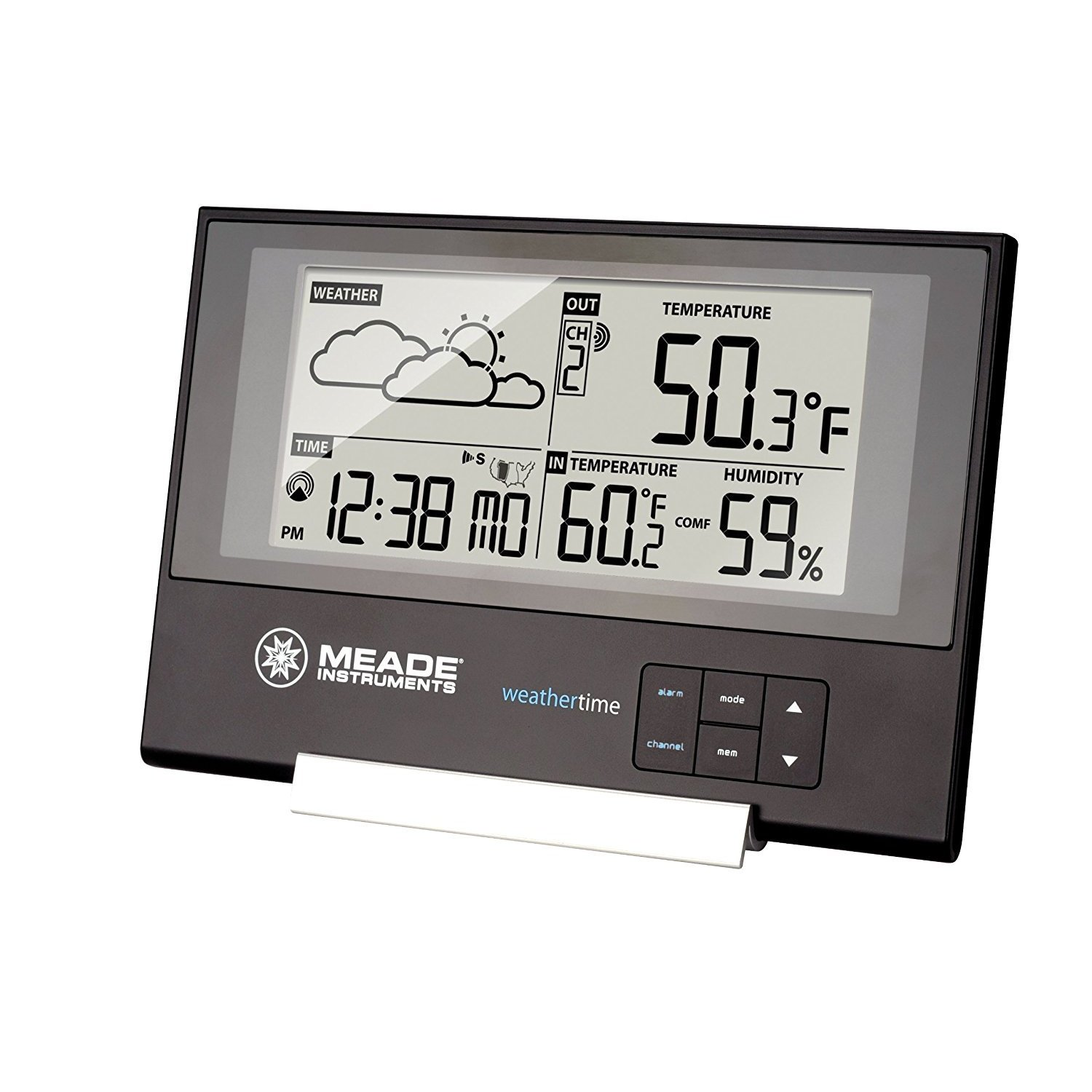 By-Meade Weather Station Clock, Slim Indoor Desk Wall Small Weather Station