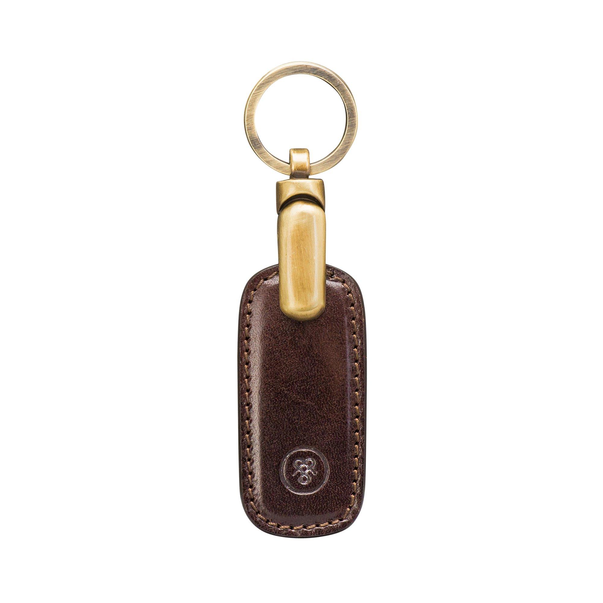 Maxwell Scott Luxury Brown Leather Keyring (Ponte)
