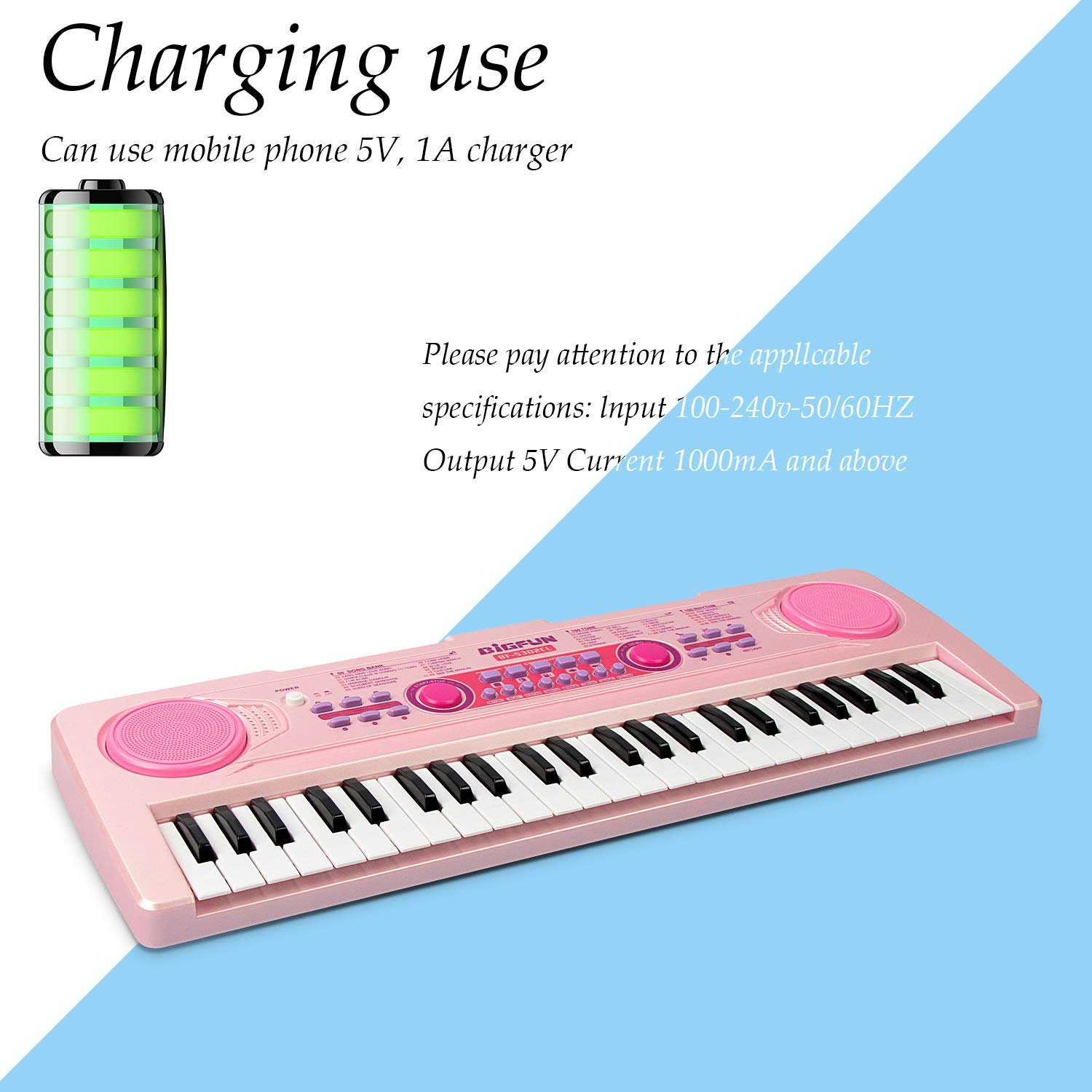 SAOCOOL Piano Keyboard, 49 Keys Multi-Function Charging Electronic Kids Piano Keyboard Music Educational Toy for Children Over 3 Years Old (Pink) by SAOCOOL (Image #3)