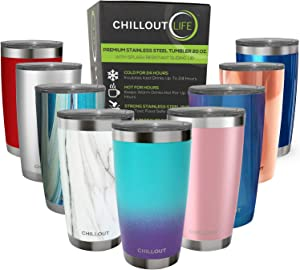 CHILLOUT LIFE 20 oz Stainless Steel Tumbler with Lid - Double Wall Vacuum Insulated Large Travel Coffee Mug with Splash Proof Lid for Hot & Cold Drinks, Powder Coated Color