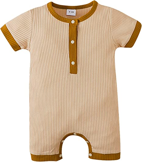 Newborn Baby Romper Suit Chickwin Boys Girls Playsuit 100/% Cotton Jumpsuit Outfits Newborn Pajamas Short Sleeve Infant Clothes 6M,Green Stripes
