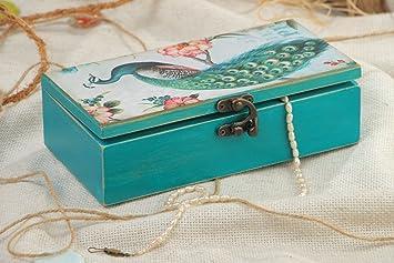 Joyero de madera caja decorativa artesanal con estampado pintada para joyas: Amazon.es: Hogar