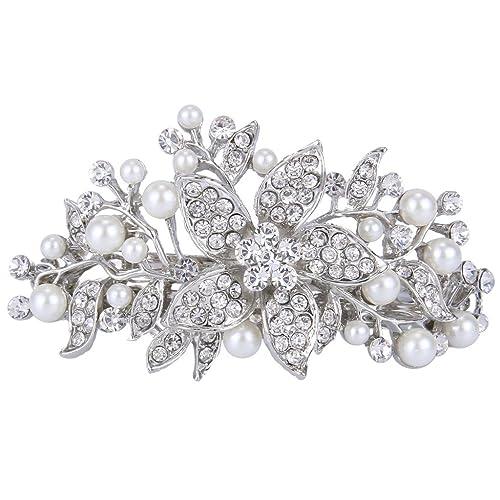 EVER FAITH Austrian Crystal Bridal Hibiscus Cream Simulated Pearl Hair Clip Barrette Silver-Tone 7xEicGgzra