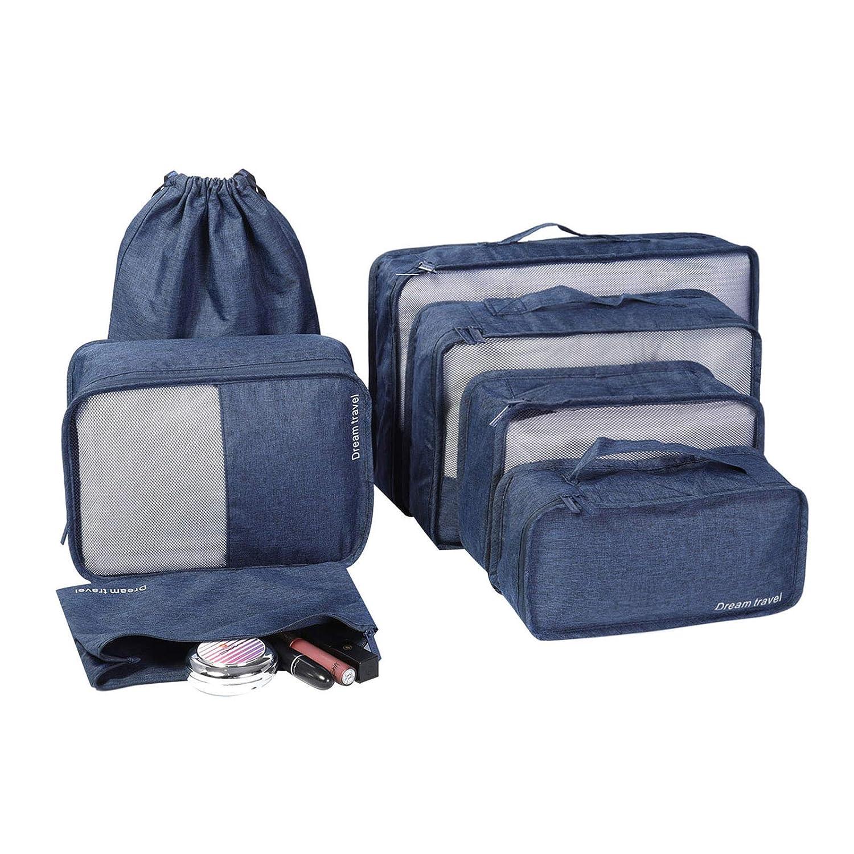68529bdd2066b HOKEMP Set 7 Kleidertaschen Gepäck Organizer Packtaschen - Kation Oxford  Tuch Paket KofferOrganizer Reisetasche(grau