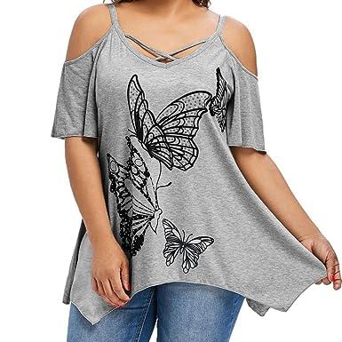 2d7d381ae183 TWIFER Große Größe Frauen Schmetterling Druck Kurzarm T-Shirt Damen Cold  Shoulder Tops Bluse