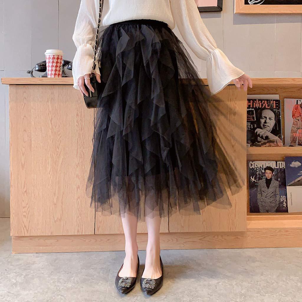 2019 Women A-Line Skirt Princess Long Skirt Tutu Tulle Petticoat Petticoat Basic Irregular Pleated Ball Gown Skirts (Black, Free Size) by Tanlo (Image #4)