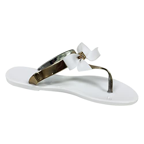 9c60bc1033e2b2 VeeVee Women s Jelly Sandals With Bow and Metallic straps - White - Small