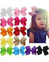12 Solid Colors 6 Inch Baby Hair Bows For Girls Big Large Grosgrain Ribbon Boutique Bows Alligator Clips For Teens Babies Toddlers Children Newborn Infant Kids Teens