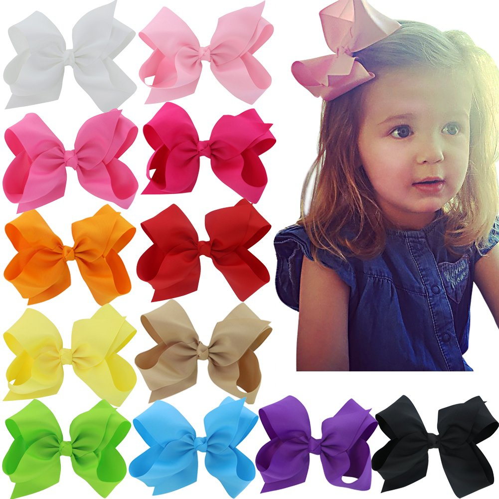 6 Inch Hair Bows Big Large Grosgrain Ribbon Boutique Hair Bow Clips For For Girls Teens Toddlers Kids Set Of 12 by Mybigqueen