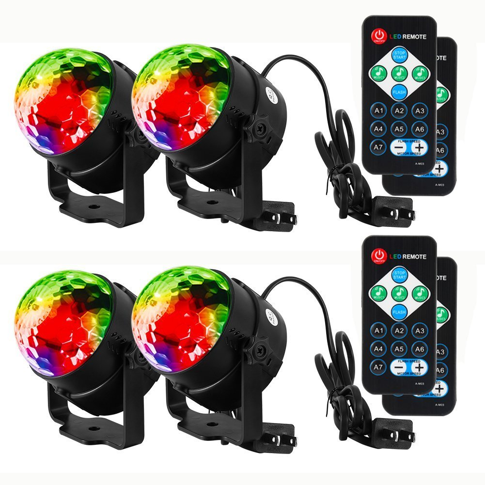 Litake Party Lights Disco Ball Strobe Light Disco Lights, 7 Colors Sound Activated Stage Light with Remote Control for Festival Bar Club Party Wedding Show Home-4 Pack