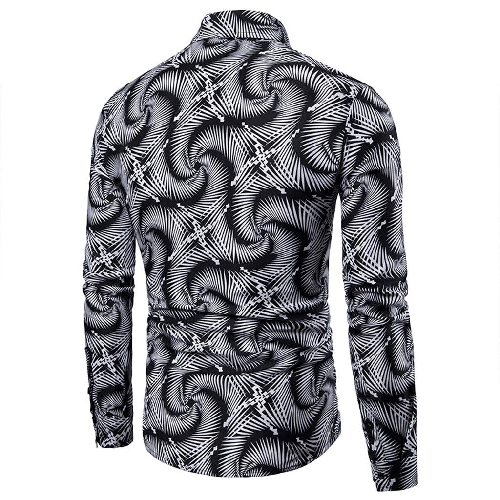 LEXUPA BHYDRY t Shirts for Men Spring and Summer Mens Casual Pattern Stand Collar Button Long Sleeve Shirt