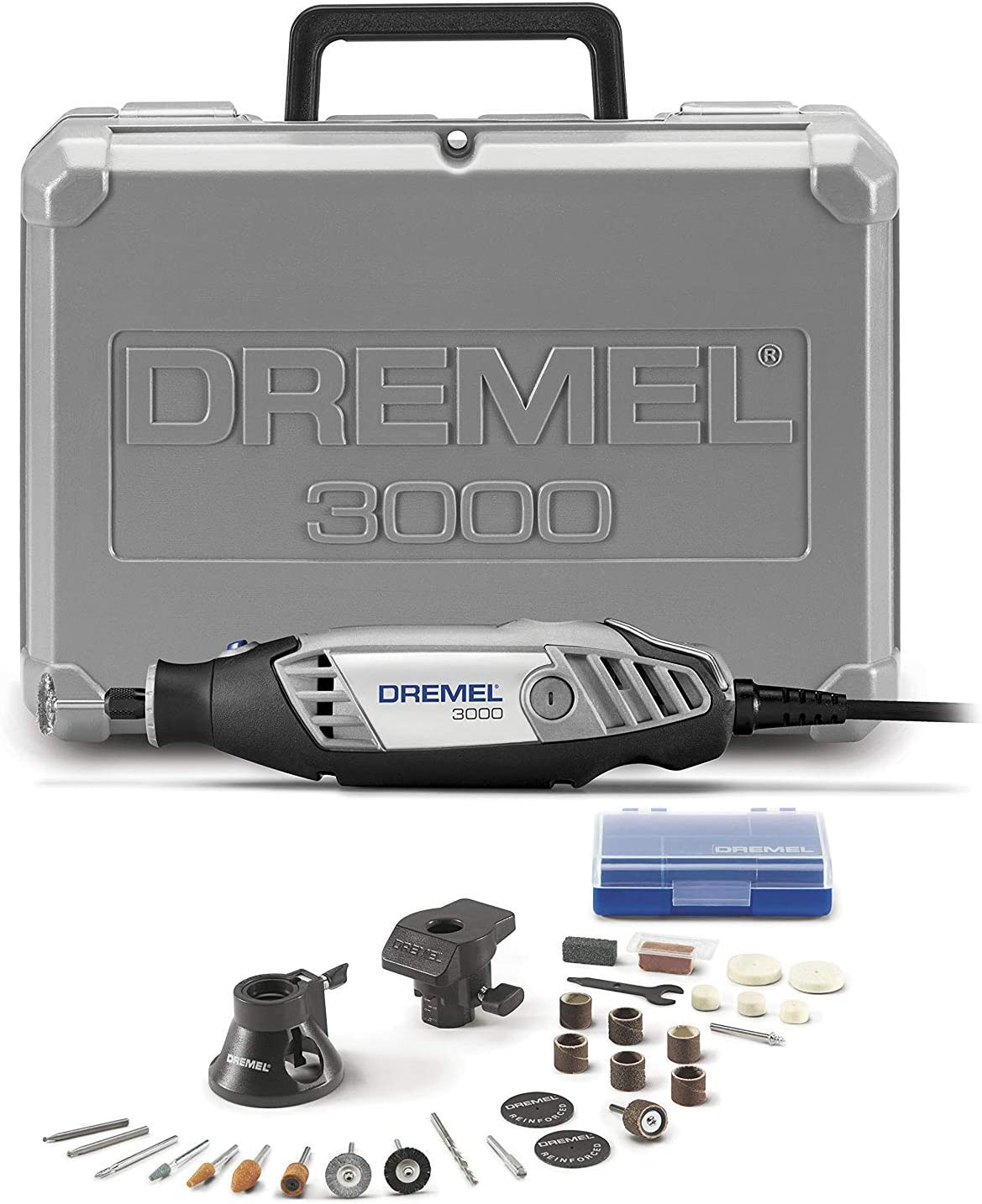 Dremel 3000-2/28 Variable Speed Rotary Tool Kit- 1 Attachments & 28 Accessories- Grinder, Sander, Polisher, Router, and Engraver- Perfect for Routing, Metal Cutting, Wood Carving, and Polishing - Power Rotary Tools -