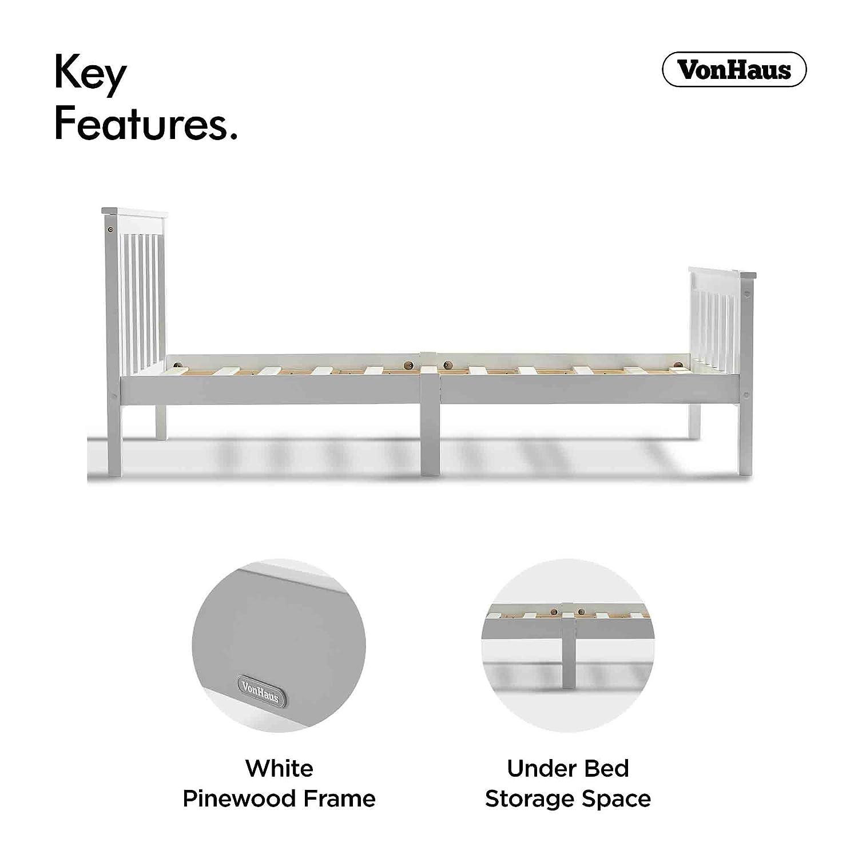 parfait pour les /étudiants et les enfants t/ête et pied de lit inclus Lit simple en pin VonHaus cadre de lit en bois blanc de 90 cm avec sommier en lattes