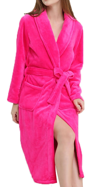 S.T.M Women's Luxury Fleece Soft Bathrobe Full Length Bath Robe with Belt
