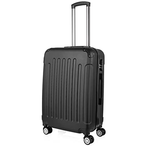 af8bcd4c6393 PRASACCO Luggage Suitcase Carry on Luggage Cabin Ultra Lightweight Travel  with 4 Wheels, ABS Hard Shell, 24'', Black