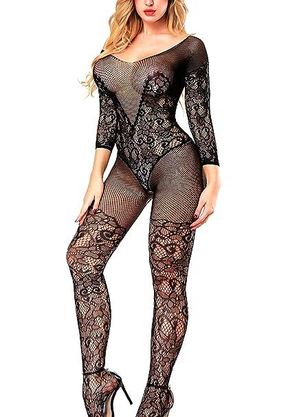 7bf8b2b05eb Sexy Fishnet Bodystocking Plus Size Bodysuit Lingerie for Women (Black)