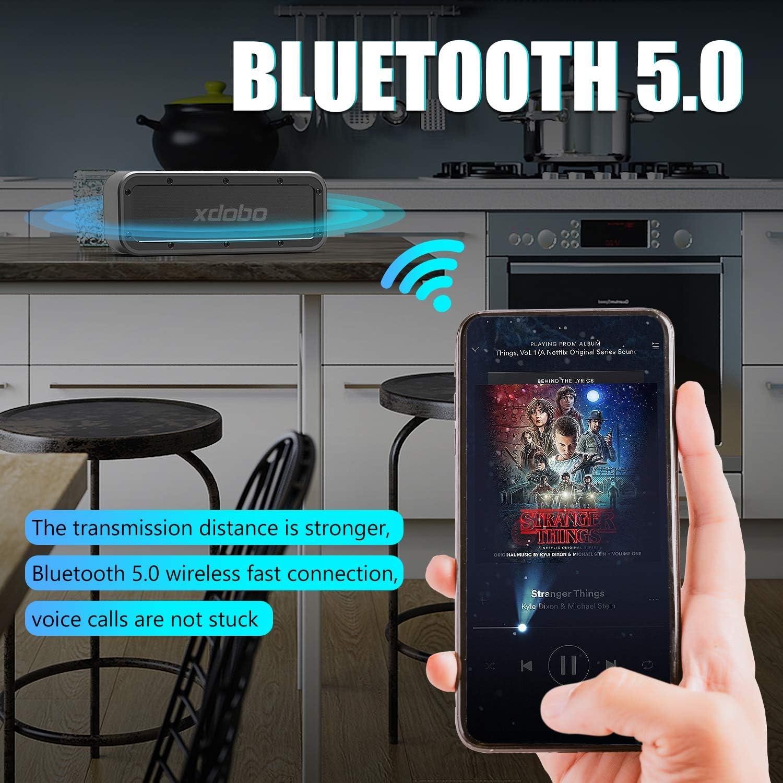 Xdobo 40w Portable Bluetooth Lautsprecher 5 0 Mit Wasserdichter Ipx7 15 Stunden Spielzeit Tws Dual Driver Drahtlose Lautsprecher Fur Outdoor Home Bar Partytravel Strand Dusche Wandern Schwarz Amazon De Audio Hifi