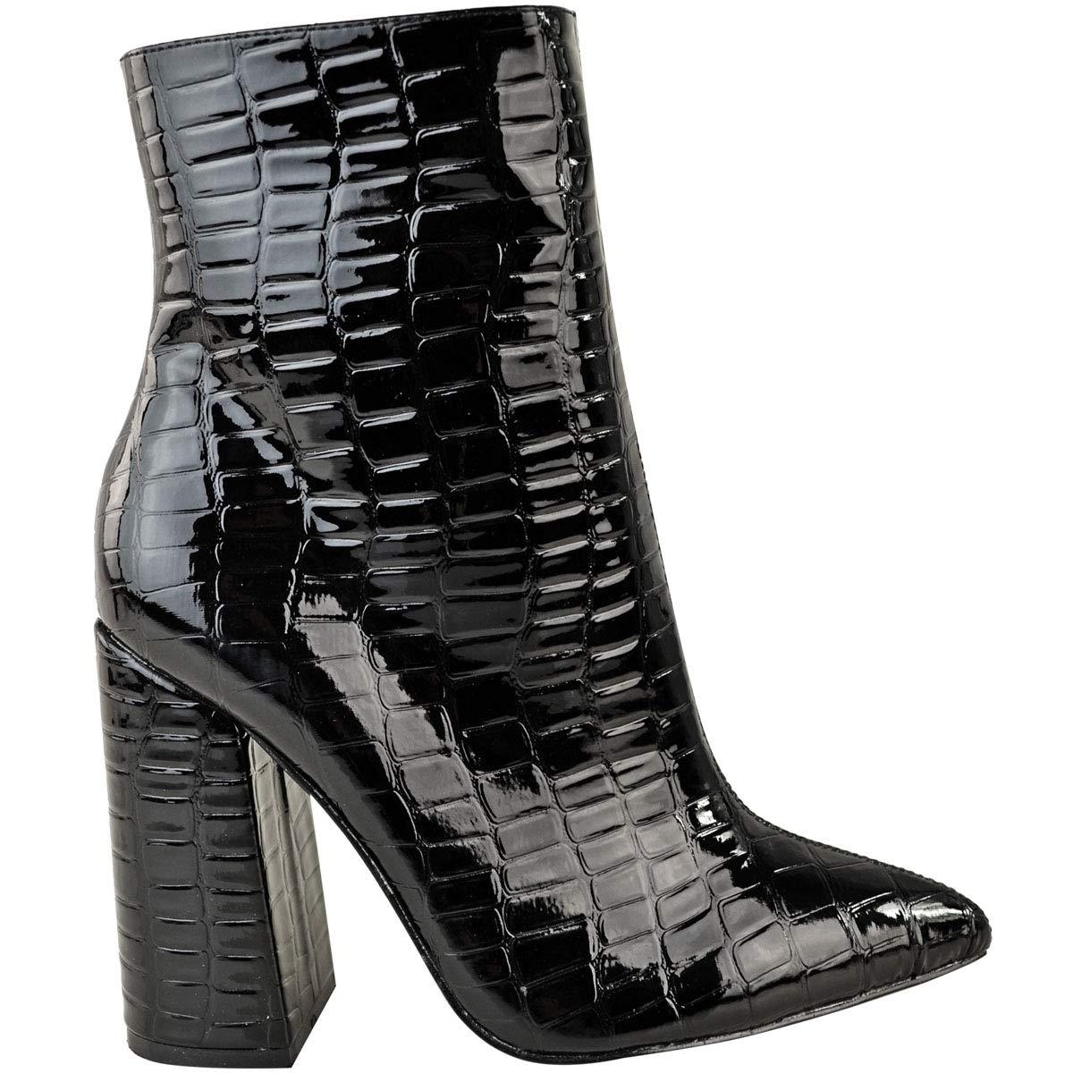 c8e8bd57e4b2 Womens Ladies Block High Heel Ankle Boots Black Croc Smart Work Animal  Print Heelberry®  Amazon.co.uk  Shoes   Bags