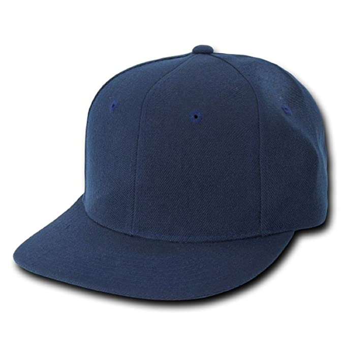 0786b1a409 Image Unavailable. Image not available for. Color  Plain Solid Fitted Flat  Bill Acrylic Baseball Cap Navy Blue ...