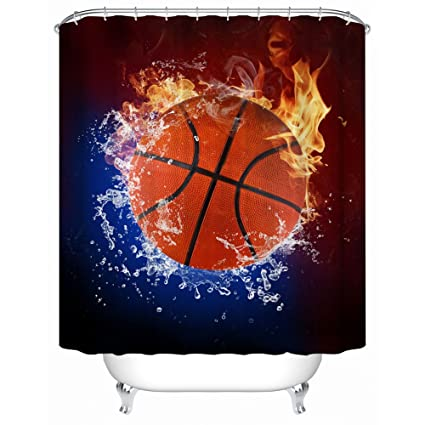 ZBLX Football Basketball Baseball Shower Curtain Waterproof Polyester Fabric For Your
