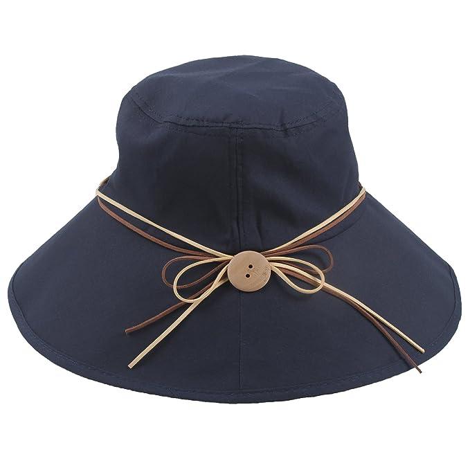 Sidiou Group Sombrero Anti UV UPF50+ Gorro de Playa Algodón Plegable Sombrero  Para El Sol De 36fe86c93f8
