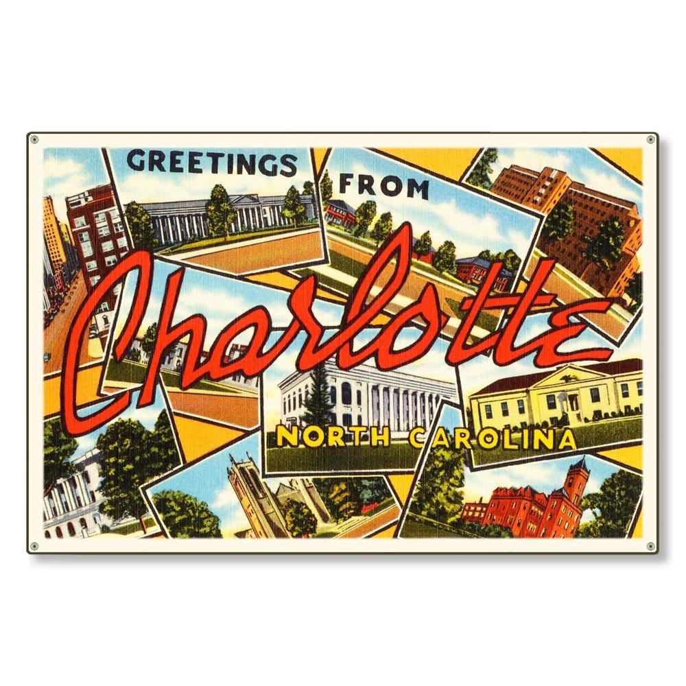 Charlotte North Carolina nc Old Retro Vintage Travel Postcard Reproduction Metal Sign Art Wall Decor 8x12 inch
