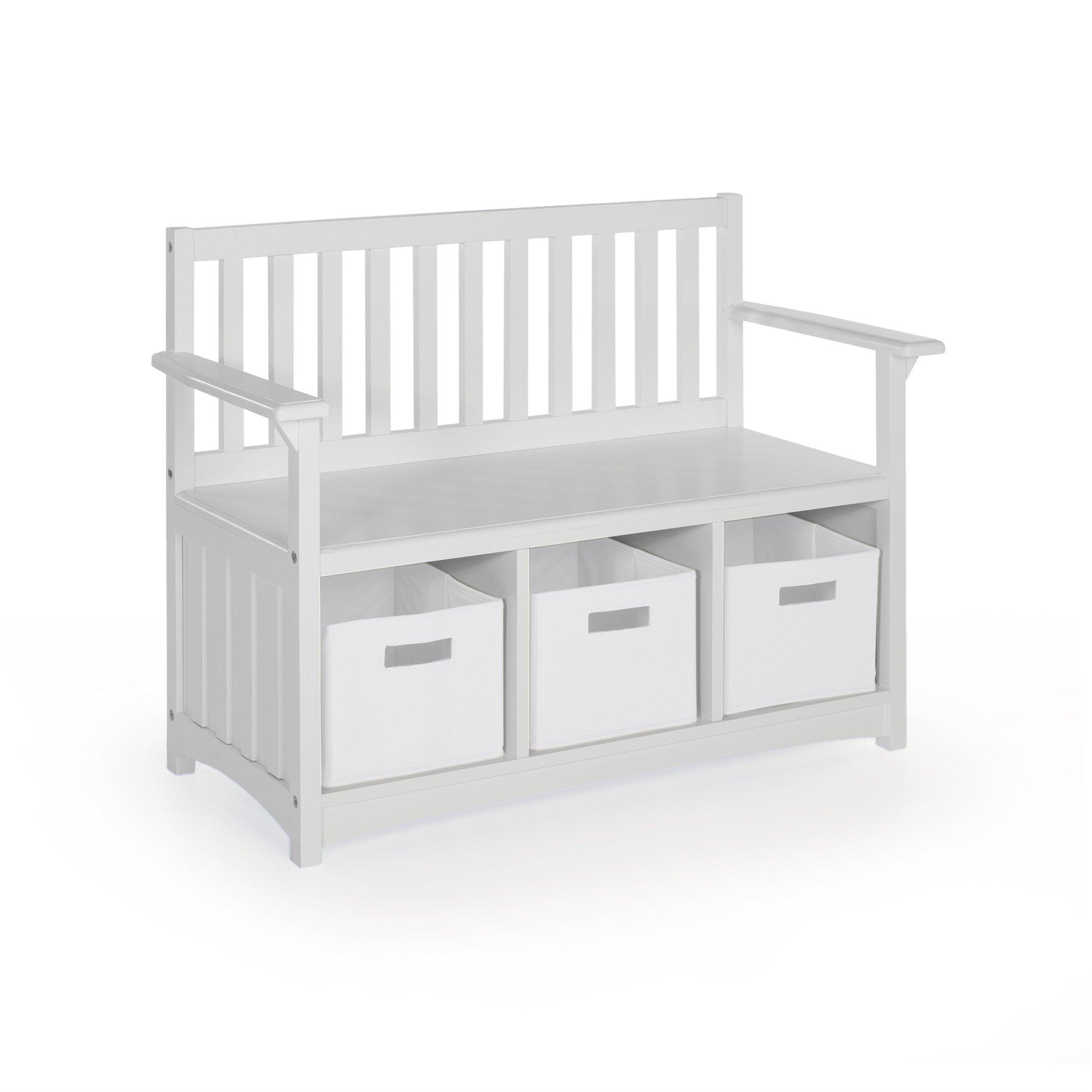 Guidecraft Classic Storage Bench with Bins - Gray: Bins Storage Cubby, Kids Toys Organizer, School Educational Supply Furniture