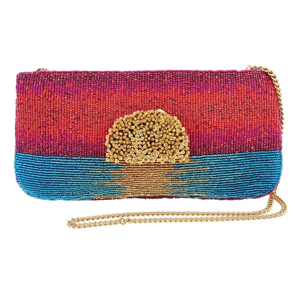 MARY FRANCES Paradise Found Beaded Sunset Crossbody Clutch Handbag