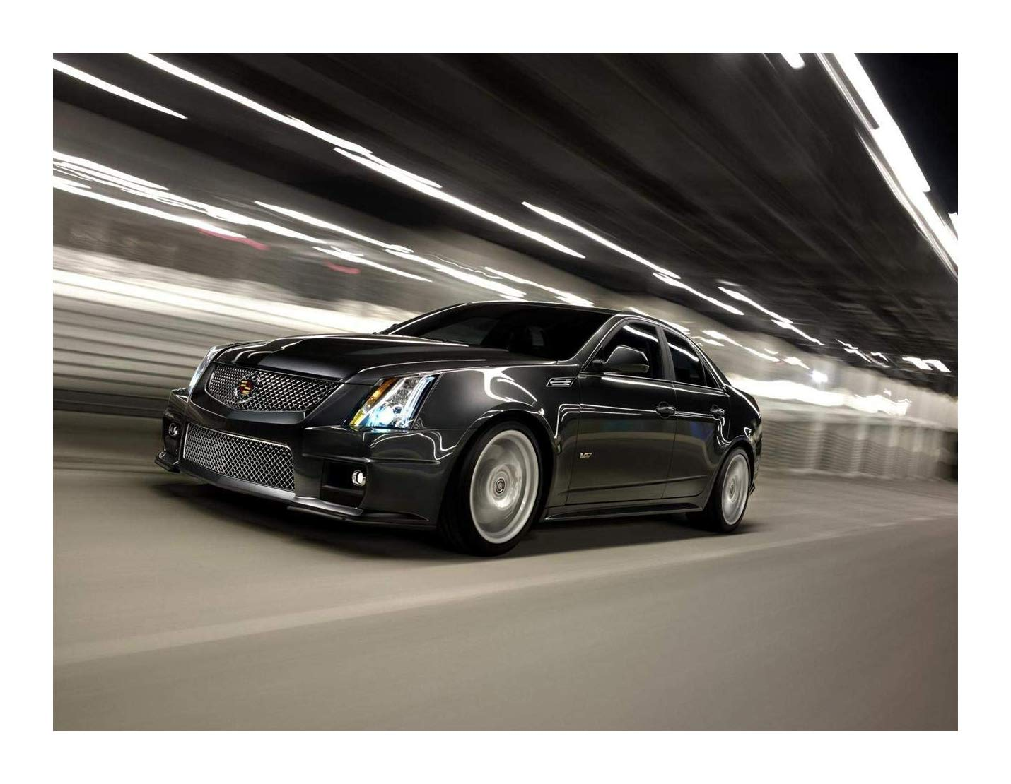 Cadillac CTS-V Sport Sedan (2011) Car Art Poster Print on 10 mil Archival  Satin Paper Black Front Side Speed View 20