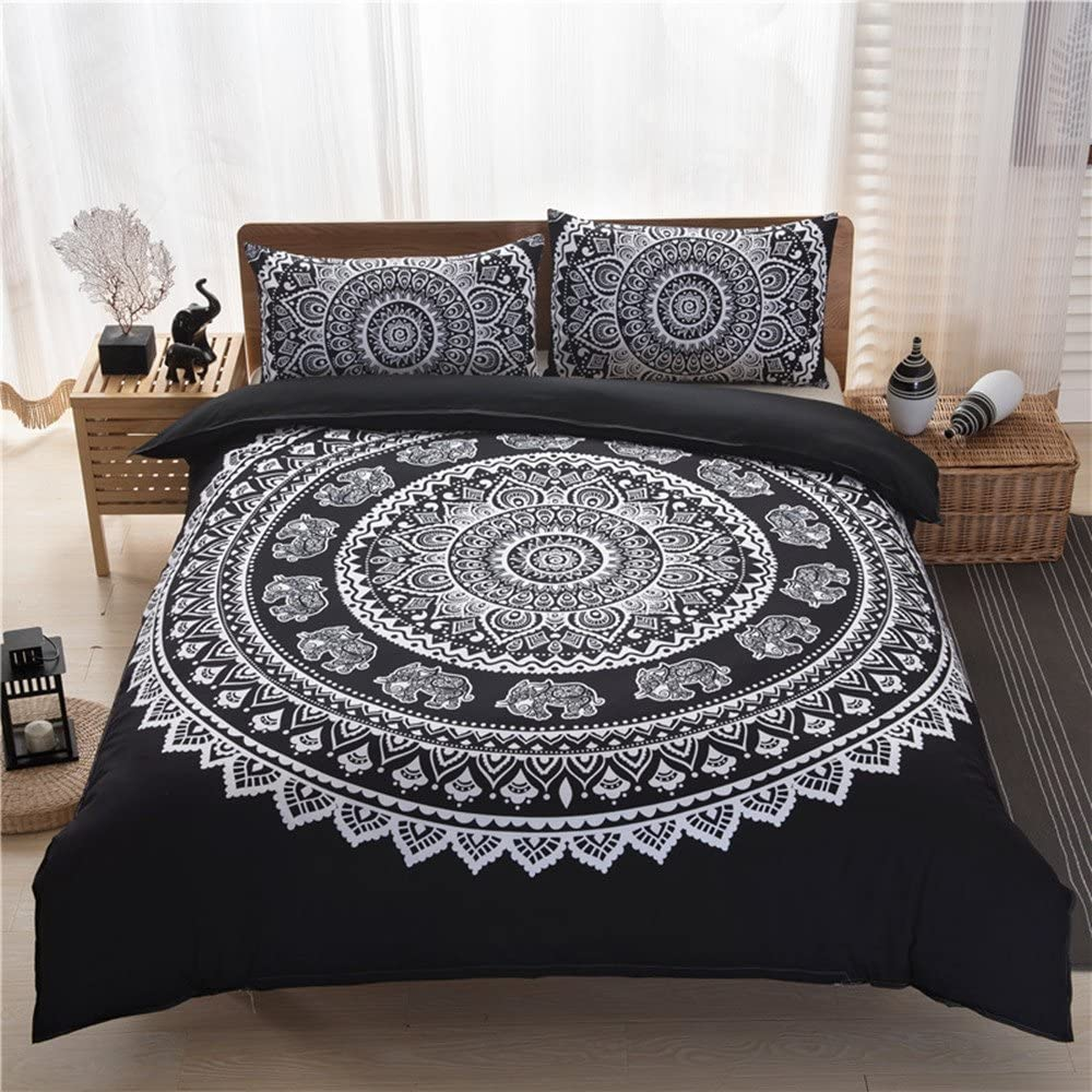 UniTendo 3-Piece Ethnic Bohemian Style Nice Vivid Color Bedding Sets/Collections,Morocco Boho Chic Stripe Pattern Duvet Cover Sets Shams,Exotic Home Decor,Queen Size, Black.