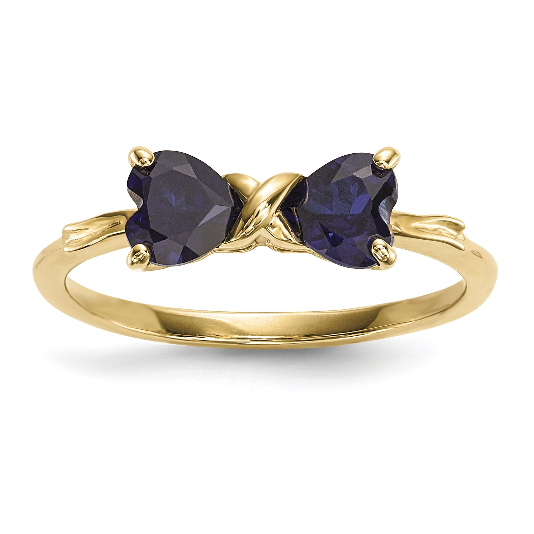 ICE CARATS 14k Yellow Gold Created Sapphire Bow Band Ring Size 7.00 Birthstone September Set Style Fine Jewelry Gift Set For Women Heart