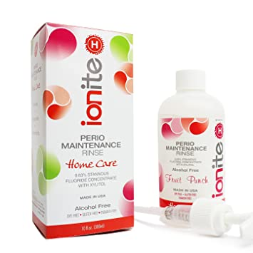 Ionite 0.63% Stannous Fluoride Antimicrobial Perio Rinse Mouthwash - Fruit  Punch Flavor 10 Fl.