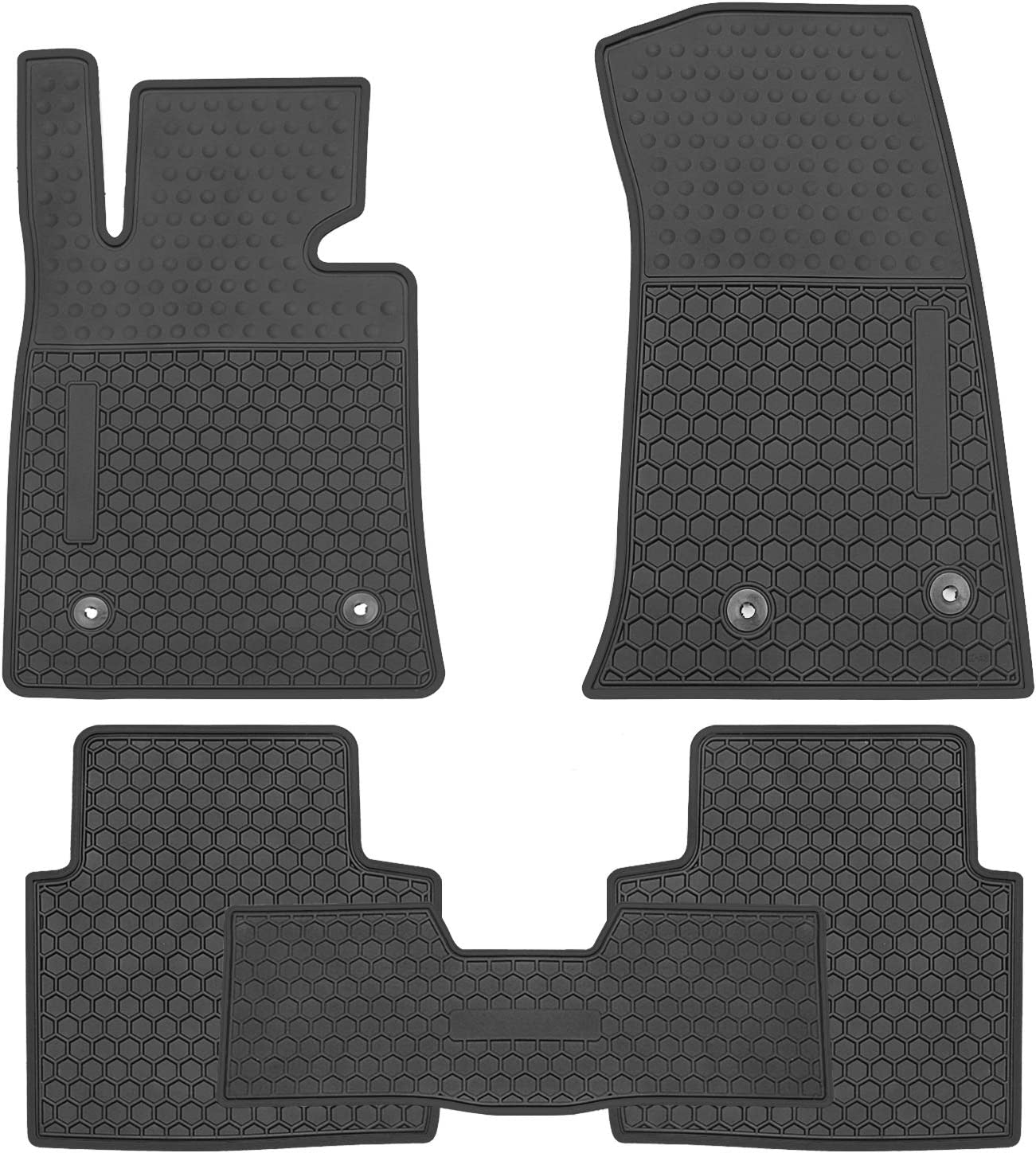 San Auto Car Floor Mat Rubber Custom Fit for Cadillac ATS-L 2018 2017 2016 2015 2014 2013 2007-2012 Full Black Auto Floor Liners All Weather Heavy Duty Odorless