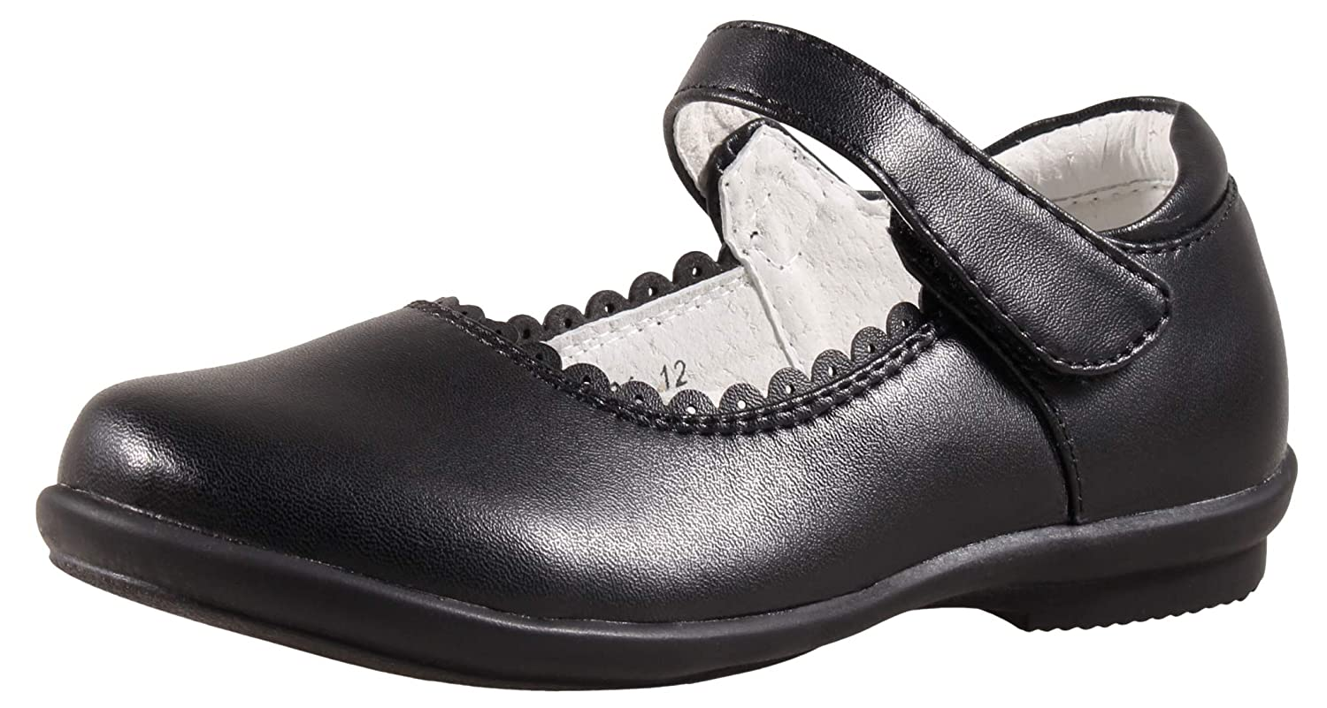 SKOEX Girl's Strap Mary Jane School Uniform Dress Flat Shoes Black A5004