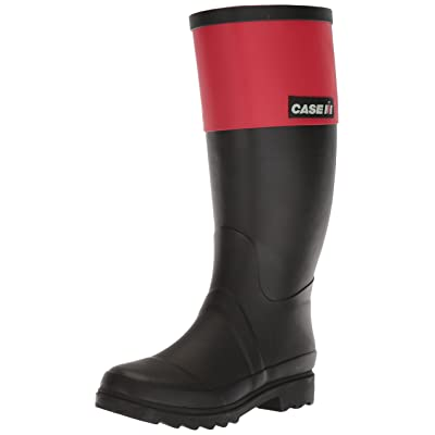 AdTec Women's Case IH Rubber Work Boots, black/Red, 8 M US | Mid-Calf