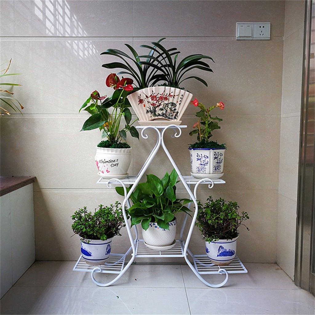 Chengxin Shop-アウトドアプラントスタンド/マルチティアフラワーラック/ディスプレイプラントステップメタルスタンド/プラントラダー/ガーデンプラントポットシェルフ/スタンドフラワーパティオデッキ屋外または屋外 - 6ポットの花を置くことができます (色 : 白) B07CZ8RXD5 白 白