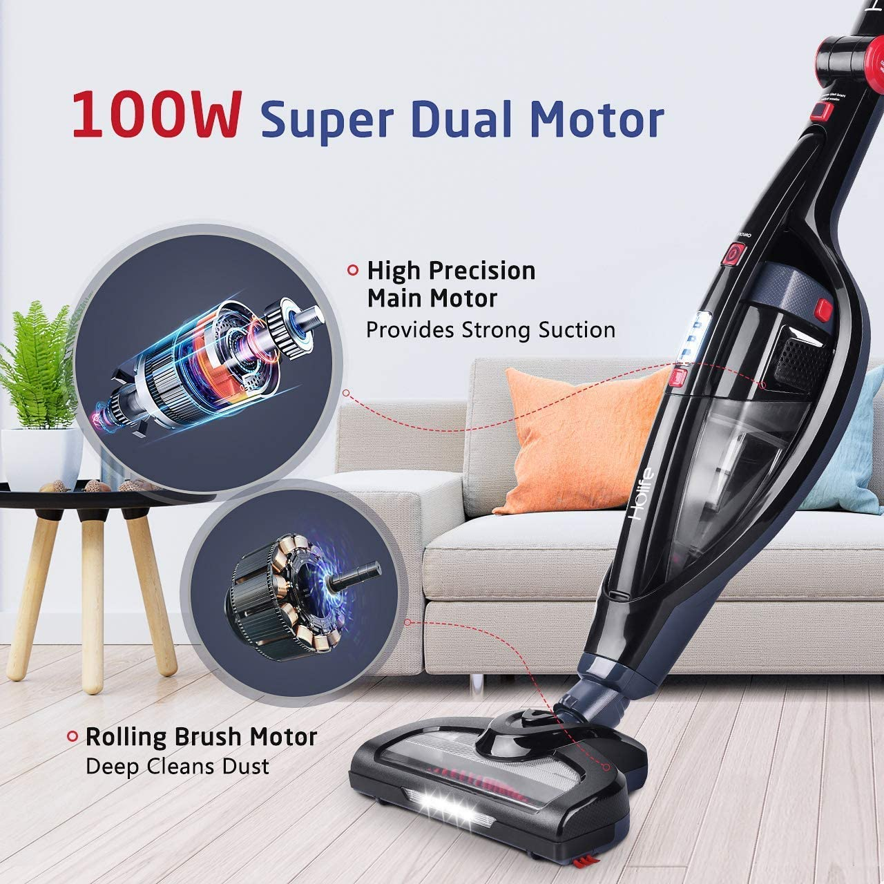 Holife Upright Vacuum, 2 in 1 Cordless Handheld Stick Vac Rechargeable Vacuum Cleaner, Hand held Vac with High Power & Long Lasting 18.5V Li ion
