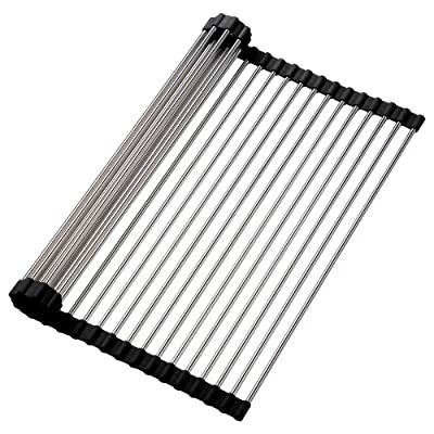 Buy Roll Up Dish Drying Rack Over The Sink Kitchen Rolling Large Rack 17 7 X16 1 Multipurpose Dry Rack Drainer 304 Stainless Steel Foldable Dish Drying Rack For Kitchen Sink Counter Black Online In Indonesia