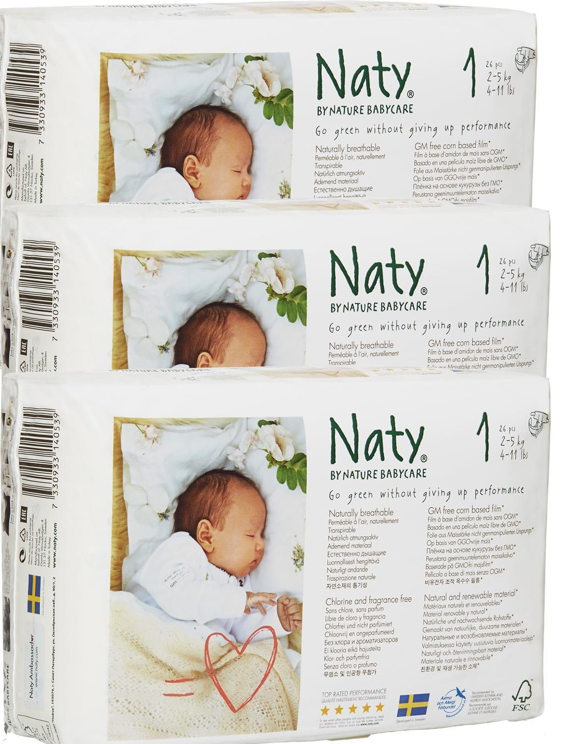 Pack Of 3 Naty Newborn Nappies (Size 1) 78 Nappies Nature BabyCare 200011