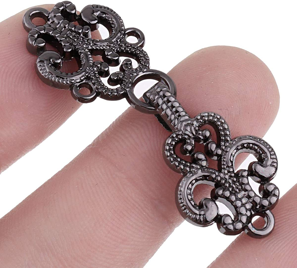 IEFIEL 5 Pairs Retro Flower Filigree Trivet Clasp Fasteners Clip for Cape Cloak Cardigan