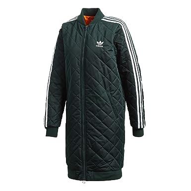 0a339e9b9 adidas Originals Women Long Diamond Quilted 3-Stripes Bomber Jacket Coat (M  (US