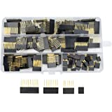WGCD 120 PCS 2.54mm 6 8 10 and Double Row 3 Pin Stackable Shield Header Assortment Female Pin Header Kit for Arduino