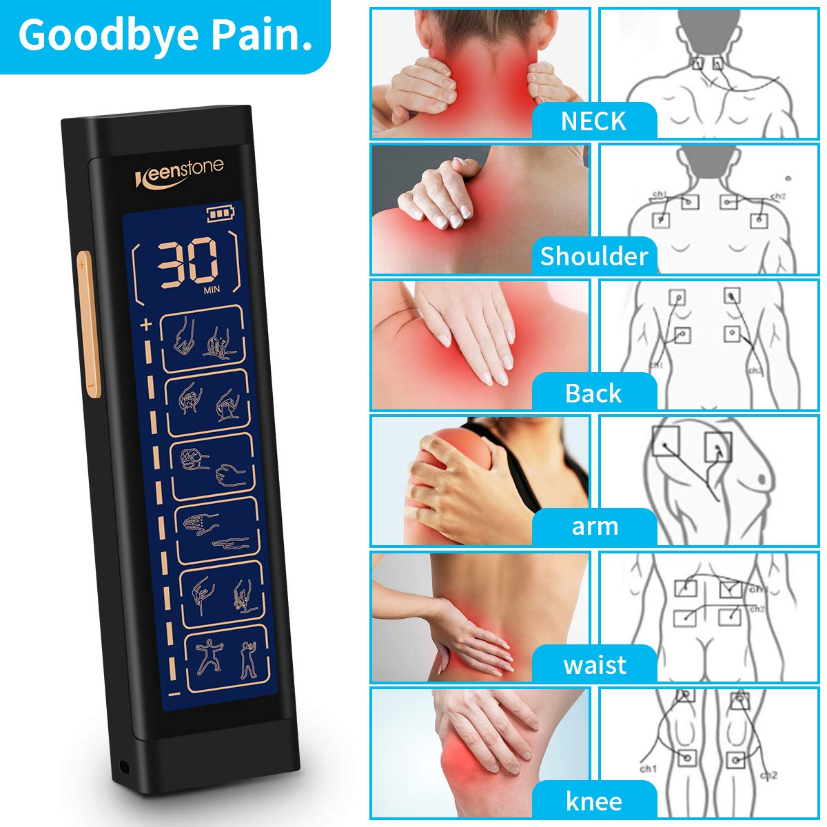 Tens Machine, Keenstone EMS Massager Dual Channel, Electronic Pulse Muscle Stimulator Therapy Device for Pain Management and Rehabilitation, Back Neck Stress and Muscle Relief, 6 Modes & 8 Pads
