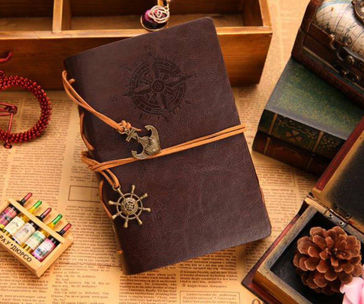Obling 18.5*13cm Notebook Rétro Carnet de Notes Luxueux Couverture en Cuir PU Conception de Bande pour Dessin Journal Secret (Brun)