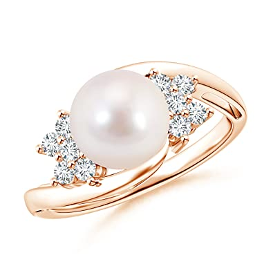 Angara Solitaire Akoya Cultured Pearl Bypass Ring with Diamonds c253IB