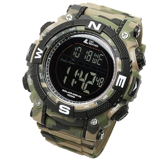 LAD WEATHER Militar Reloj Potente Batería Solar Cronógrafo Deportes al Aire Libre (cmgr-BK