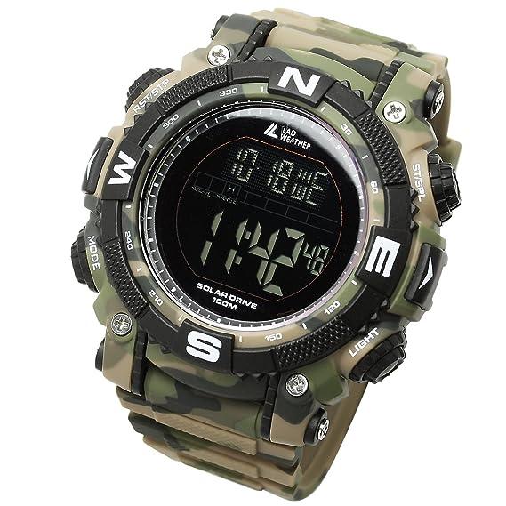 [LAD WEATHER] Reloj Digital Potente batería Solar Sumergible 100 Metros Militar Exterior Reloj Inteligente