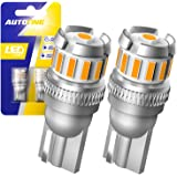 AUTOONE 194 Amber LED Bulbs, 168 2825 W5W T10 Light Bulbs Error Free for Dome Map Trunk Door License Plate Lights, Pack…
